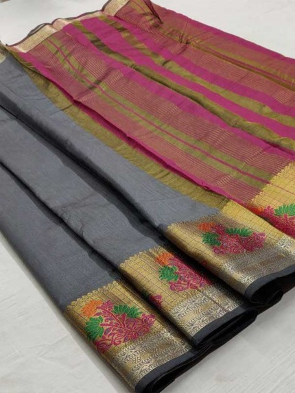Bollywood Look Grey Color Silk weaving Saree
