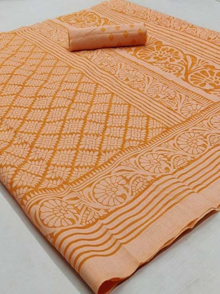 Beautiful Orange Color Chiffon Fabric  Saree with Blouse