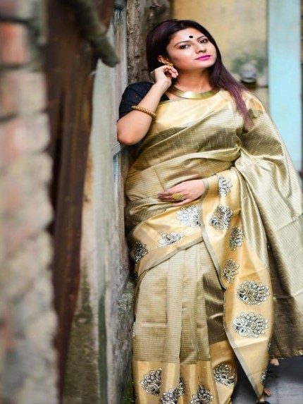 Designer Look Cream Color Raw Silk weaving saree with embroidery butta
