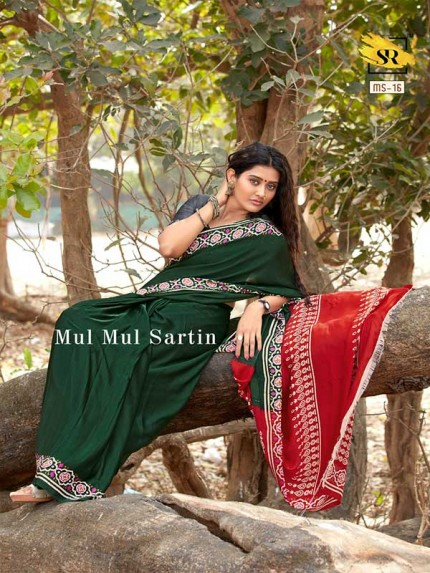 Classic Look Green Color Pure Sattin Silk With Floral Print Saree