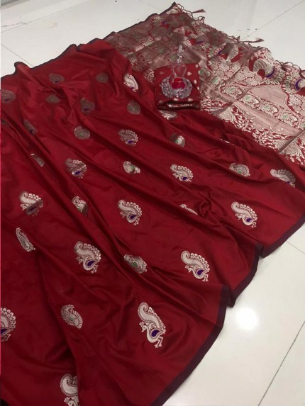 Elegance Look Maroon Banarasi Silk weaving jacquard Saree with reach pallu