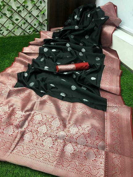 Black Colored Beautiful Soft Silk Saree With Silver Zari Design  Saree