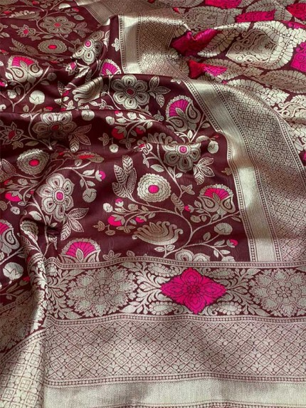 Maroon Colour Soft Silk Gorgeous Antique Weaving Finish Silver Zari Saree