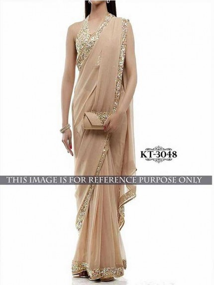 Elegance Look Cream  Colored Georgette Saree With Blouse