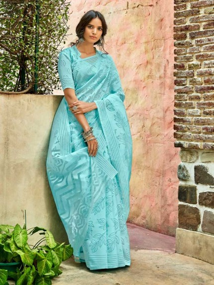 Trending SkyBlue Colored Beautiful Organza Saree