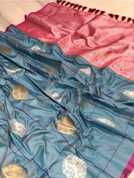 Attractive Look Grey Colour Kanchipuram With Golden And Sliver Pure Zari Saree