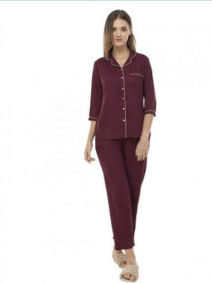 Heavy 14 Kg Rayon Top Button Openable With Pocket & Elastic Waist Pant  Collar Style Night Dress