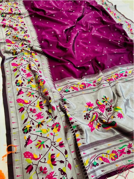 Gorgeous Yeola Paithani Saree With  Perfect Combination Of Silver And Fancy Colors