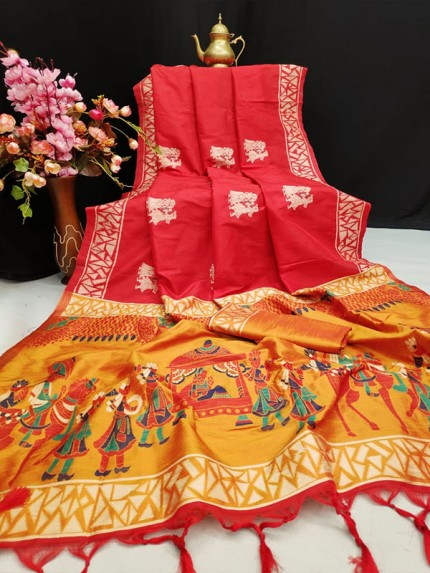 Red Colour Soft Raw Silk Two Tone Weaving Saree With Antique Design