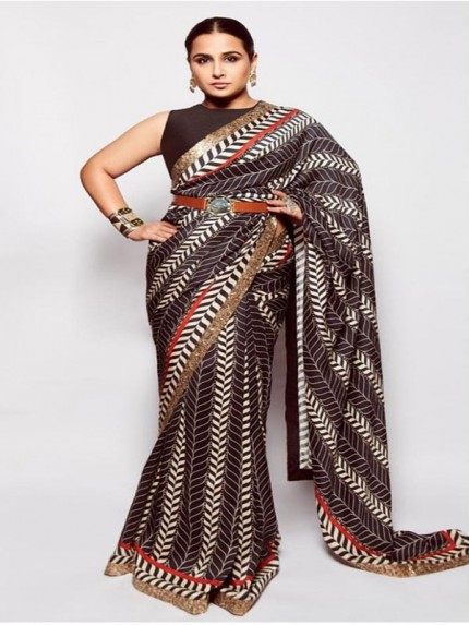 Pure sattin silk with digital print with heavy sequencing border in all over saree