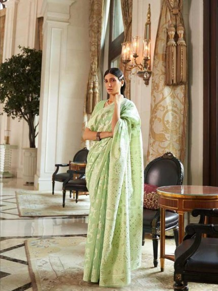 Stunning Look Green Colour  Modal Chikankari Weaving Saree