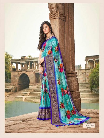 Designer SkyBlue Colour Soft Silk Saree