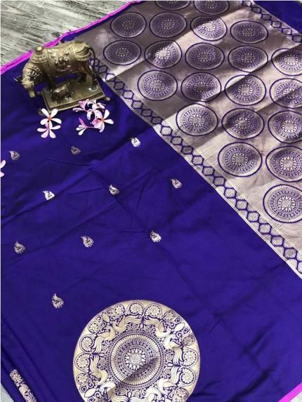 Stunning Look Blue Color Banarsi Silk Fabric Saree