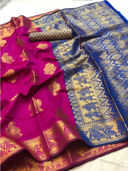 Pretty Look Pink Color Banarasi Silk Saree with Zari work
