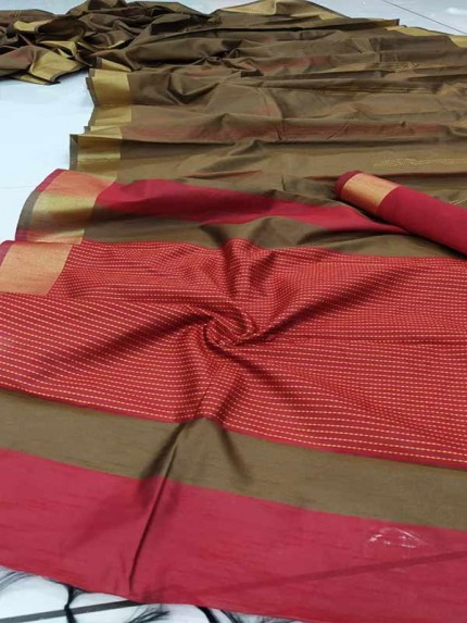 Stunning Brown Color  Raw Silk Katha Weaving Saree
