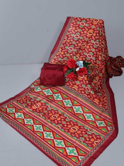 New Eye Catcher Multi Color Raw Silk ikkat Printed Saree With Contrast Pallu