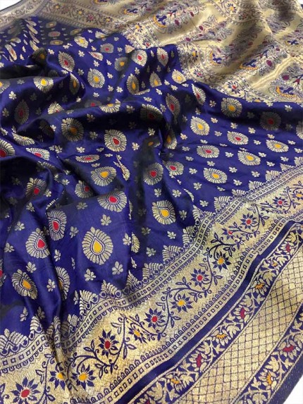 Stunning Look Blue  Colour Soft Banarasi Silk Weaving Saree