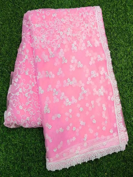 Bollywood Pink Color Mono Net Fabric Saree With Heavy Finished Chikankari Work