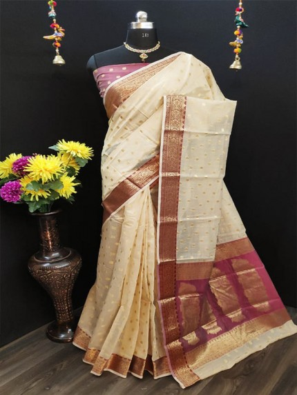 Elegance Look White Pure Cotton Silk Saree  With All Over Jequared Weaving Mango Butti