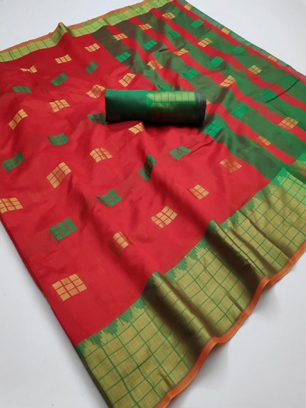 Pretty Look Red Color Kota Silk Weaving Jacquard Saree with contrast Pallu