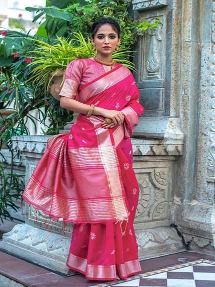 Amazing Stylish Silk weaving Saree with AllOver Zari woven butti with Silver and Gold zari Pallu