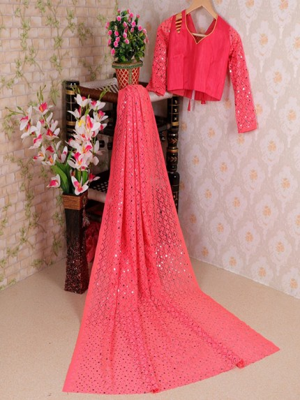 Peach Colored Soft Net Jacquard Saree with Beautiful Sequence work