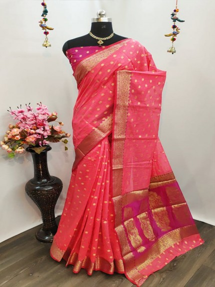 Elegance Look Pink Pure Cotton Silk Saree  With All Over Jequared Weaving Mango Butti