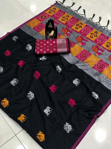 Attractive Look Black Color Lichi Silk Saree with Weaving Silver Zari
