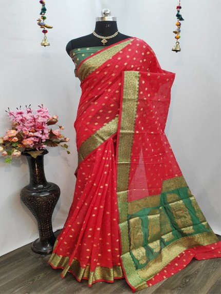 Elegance Look Red Pure Cotton Silk Saree  With All Over Jequared Weaving Mango Butti