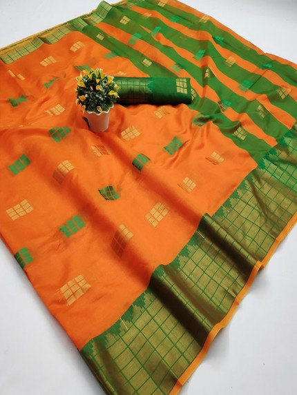Pretty Look Orange Color Kota Silk Weaving Jacquard Saree with contrast Pallu