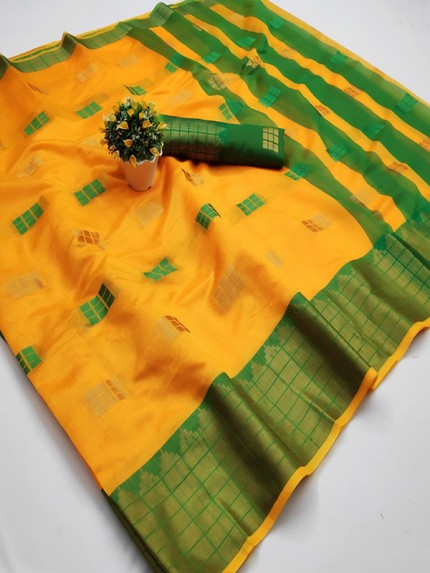 Pretty Look Yellow Color Kota Silk Weaving Jacquard Saree with contrast Pallu