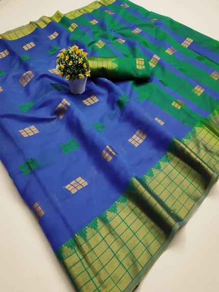 Pretty Look Blue Color Kota Silk Weaving Jacquard Saree with contrast Pallu