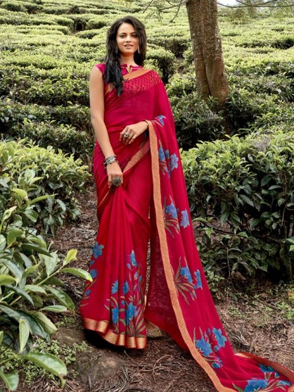 Floral Designer Digital Weightless Saree With Lace Border
