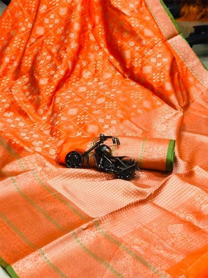 Orange Color Banarasi Silk Saree Jacquard with Reach Pallu