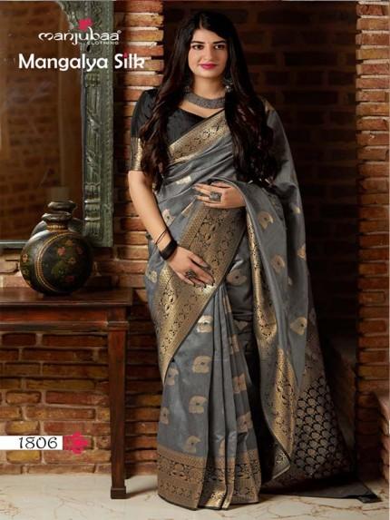 Wedding Season Grey Colour Soft Silk weaving Saree