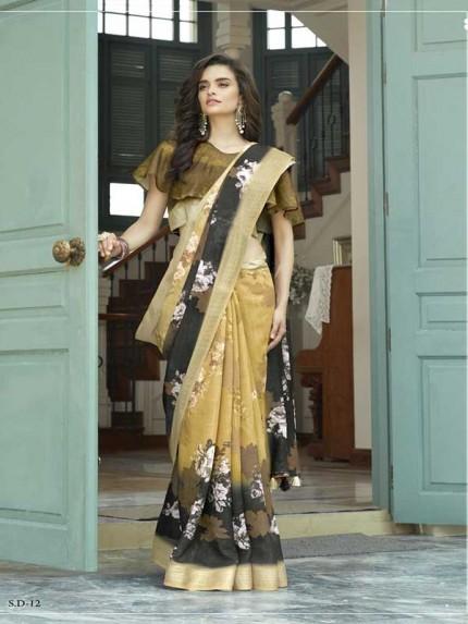 Beautiful Printed Multi Color LiNen Silver Patta Branded Saree