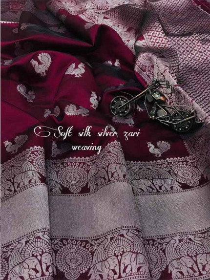New Trending Maroon Colour Soft Cotton silk weaving silver jari saree