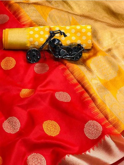 Graceful combination for Wedding Look Red Color Lichi Silk weaving jacquard Saree