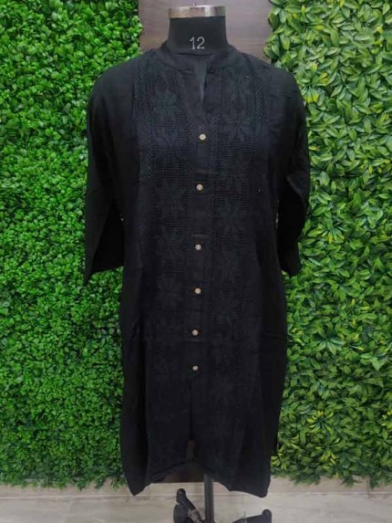 Black color Heavy Rayon Kurti With Same Color Lace