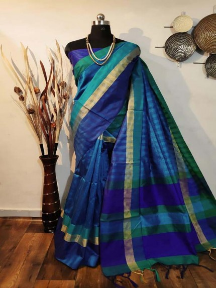 New Eye Catcher SkyBlue Color Raw Silk Saree With mutli color border