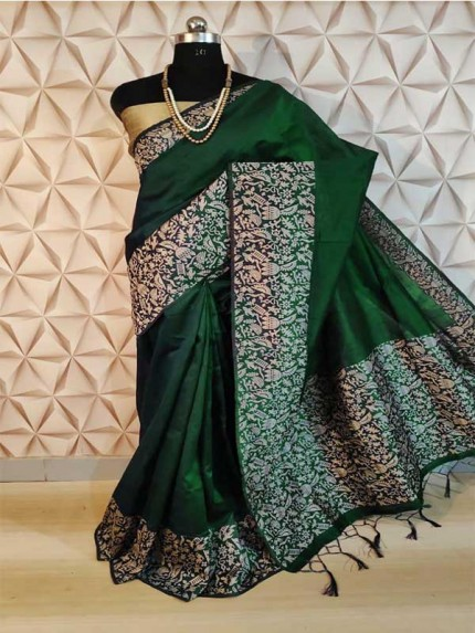 New Eye Catcher Green Color Raw Silk Saree With mutli color border