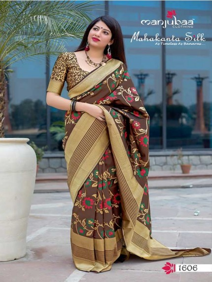 Latest Traditional Look Brown Color Pure Jamdani Silk with Minakari Weaving Saree