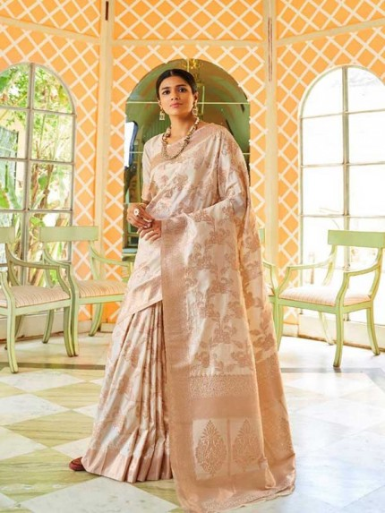 Latest Traditional Look White Color Soft Silk Weaving Saree