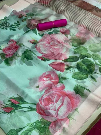 Multi Color Organza Fabric With Lining Pallu And  Wooven Border With Banglori Silk Blouse Saree