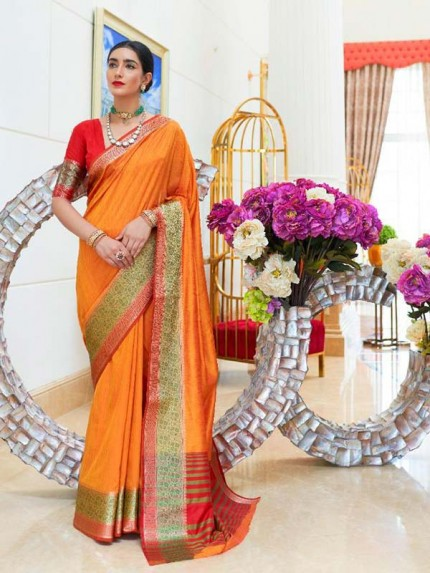 Pretty Look Orange Color Handloom Weaving Silk Saree