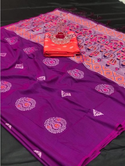Attractive Look Purple Color Lichi Silk Saree with meena and heavy rich pallu