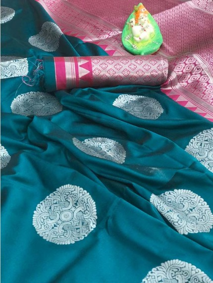 Beautiful Look Cyan Color Lichi Silk weaving Jacquard Saree