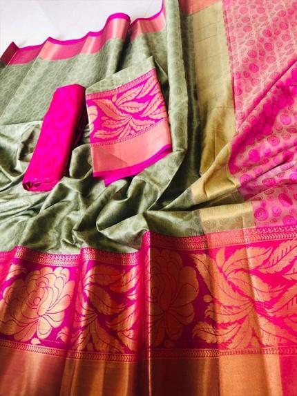 Beautiful Multi Color Branded Silk Cotton Saree