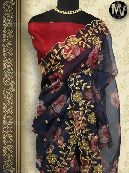 Trending Black color Soft Pure Organza Embroidery Sarees