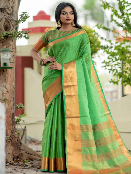 Graceful combination Green Color Soft Art Silk Weaving Saree With Zari Woven Border